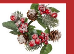 Christmas bells, flowers and wreaths