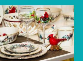 Christmas mugs, tableware and plates