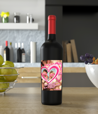Wine with custom label for Valentine's Day