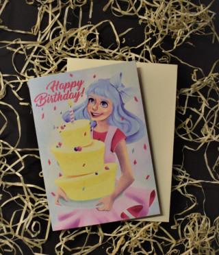 Картичка добавена реалност Happy Birthday за момиче