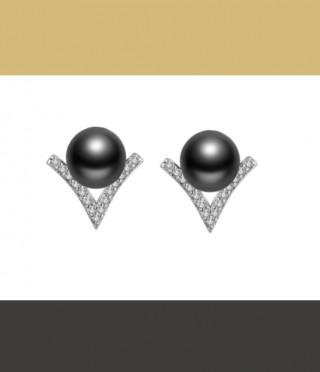 Сребърни обеци Черна перла
