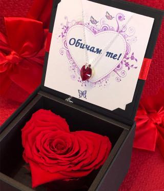 Червена роза сърце и колие