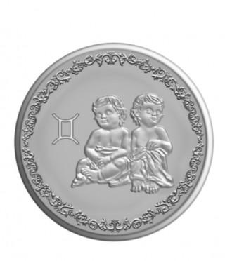 Сребърен медальон Зодия Близнаци