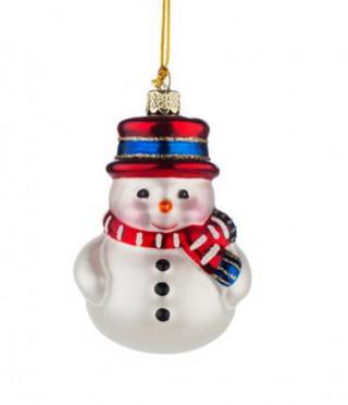 Стъклена играчка снежко с шалче
