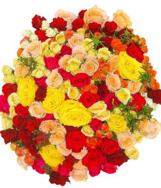 Букет от 101 пъстри рози