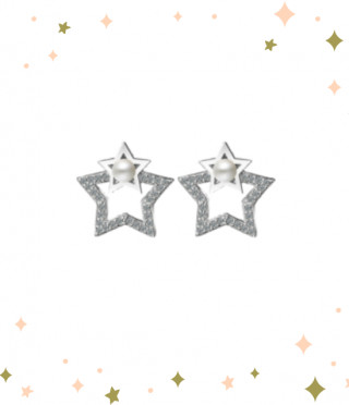 Сребърни обеци Звезда с перла