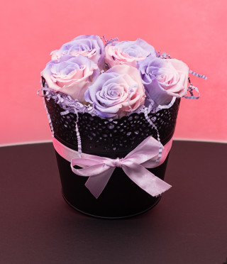 5 Everlasting roses in a black vintage pot