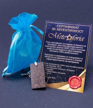 Медальон с правоъгълна плочка от истиснки метеорит