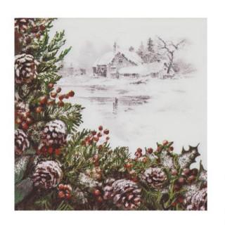 Салфетки зимна картина