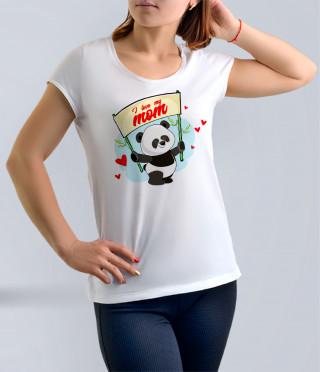 Бяла тениска за майка с панда