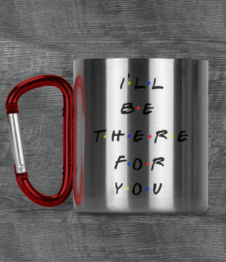 Metal panning with carabiner and text for friends