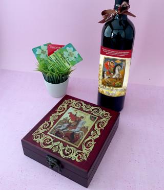 Аксесоари за вино Св. Георги в дървена кутия