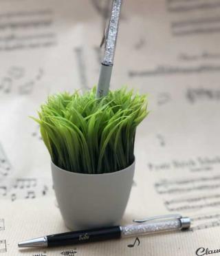 Гравирана химикалка с блестящи елементи