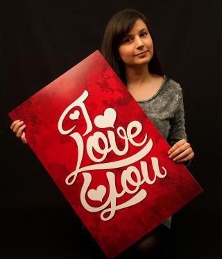 Картичка I Love You, 635х407 мм