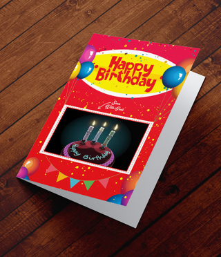 Postcard augmented reality Festive cake