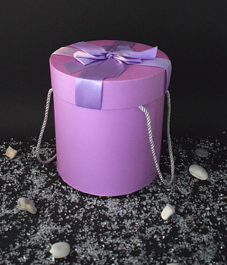 Луксозна лилава подаръчна кутия кръгла