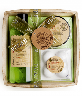 Cosmetic set with olive in a wooden basket