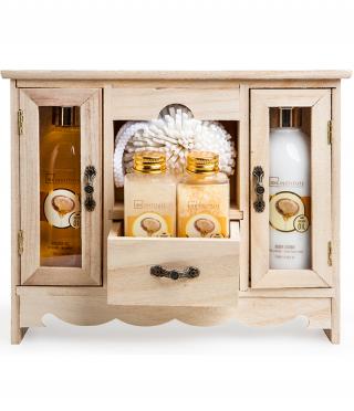 Козметичен комплект с арган в дървено шкафче