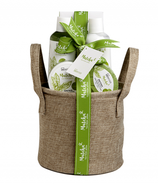 Cosmetic kit with green tea matcha in hemp basket