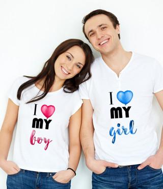 Тениски за двойки I Love my girl и I love my boy