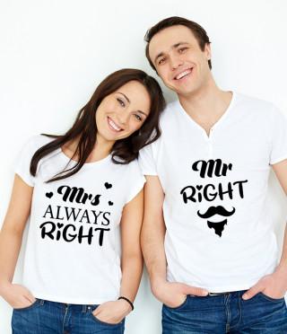 Комплект тениски Mr Right и Mrs Always Right