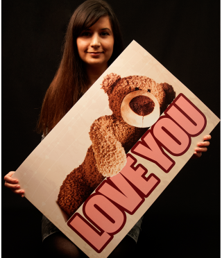 Huge postcard with Bear I Love you