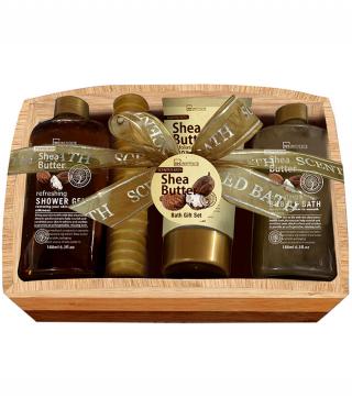 Подаръчен комплект с масло от ший в дървена кутия