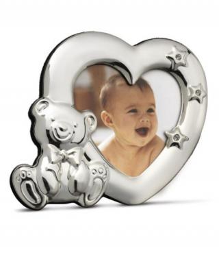 Посребрена рамка за снимка Сърце