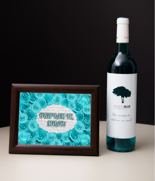 Gift Set wine and roses framed
