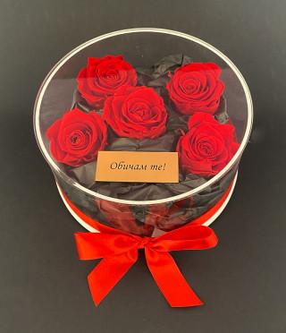 Луксозна прозрачна кутия с вечни рози