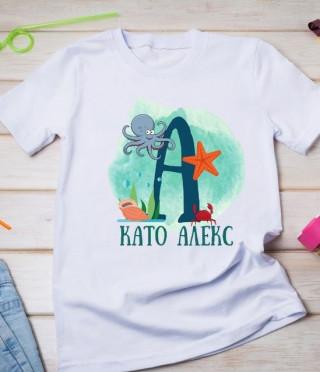 Персонализирана тениска с буквата на детето