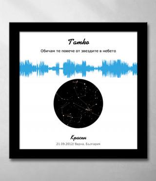 Звезден комплект със звуково послание в синьо