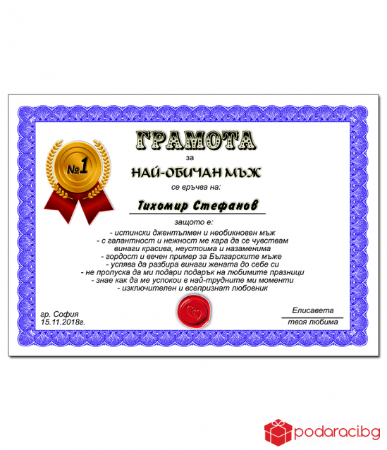 Diploma for the most loved man with a gift frame