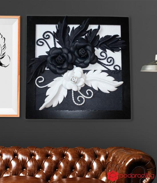 Картина Черно и бяло от естествена кожа