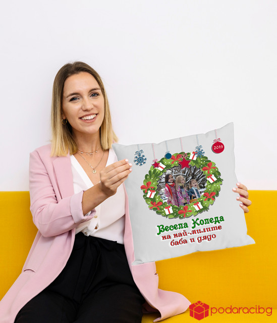 Възглавничка Весела Коледа с Ваш текст и снимка