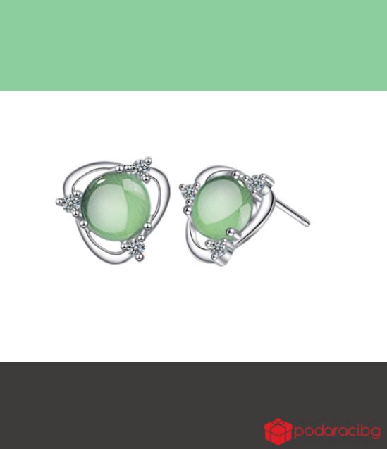 Сребърни обеци Зелен опал