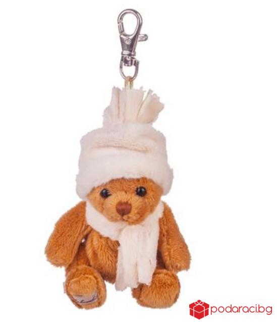 Плюшенa играчка коледно мече с бяла шапка