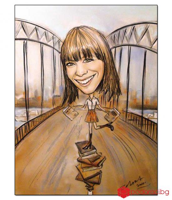 Карикатура с моливи, размер 25x32,5 см