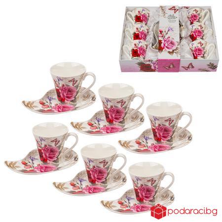 Комплект Роза с 6 чаши + 6 чинийки