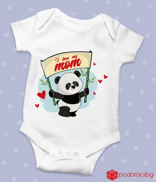 Бебешко боди с панда и надпис I love my mom