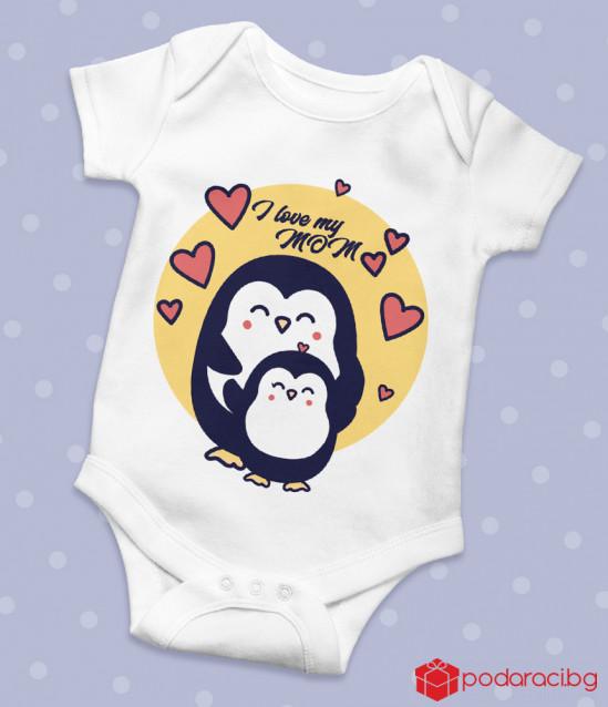 Бебешко боди с пингвинчета и надпис за Мама