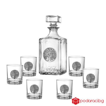 Сет бутилка с 6 бр. чаши - Дървото на живота