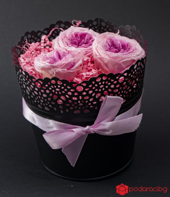 Английска роза в черна метална кашпа