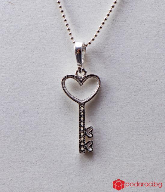 Сребърно колие Ключ към сърцето