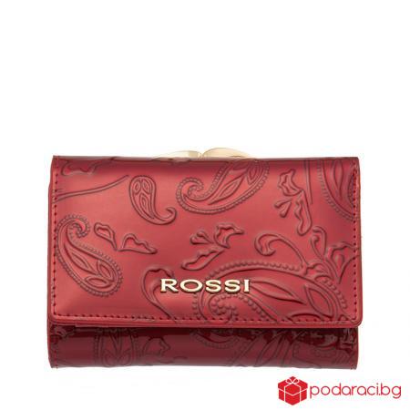 Малко дамско портмоне цвят Червен Гланц с листа ROSSI