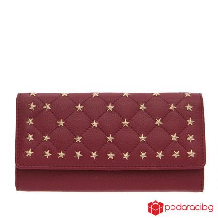 Дамско портмоне със звездички винено червено ROSSI
