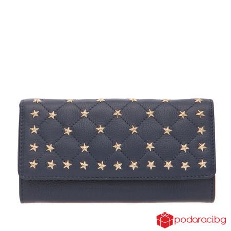 Дамско портмоне със звездички сапфирено синьо ROSSI