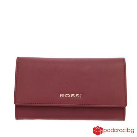 Голямо дамско портмоне винено червено  ROSSI