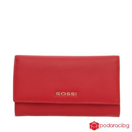 Класическо дамско портмоне в ягодово червено  ROSSI