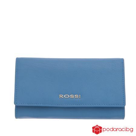 Голямо дамско портмоне в небесно синьо ROSSI